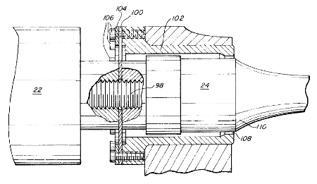 Rigid mount (ultrasonic) using flexure diaphragm and restraining collar — cross-section (Patrinkios patent 5,772,100)