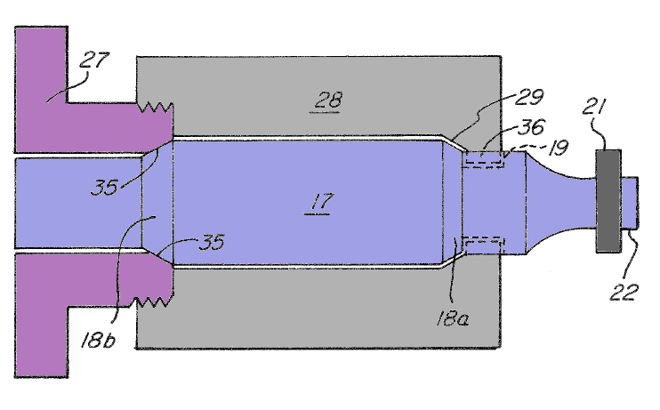Rigid mount (ultrasonic) using nodally mounted shell (Patrinkios patent 8,113,258)